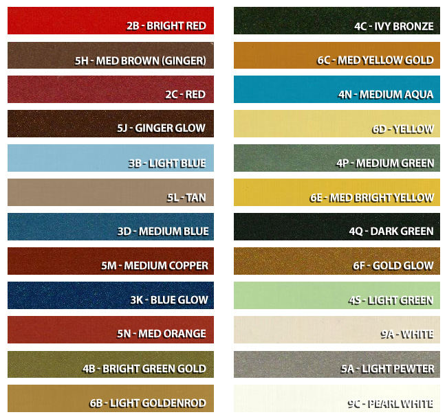 1970 Ford Paint Color Chart